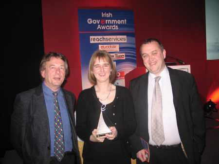 Receiving the Award, Karel Kiely of IFHF, with Reg Youster and Kevin Kelly of Kildare Web Services