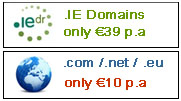 .ie domain only 39 euro, .com domains only 10 eur